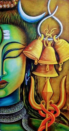 Canvas Painting Designs, Canvas Painting Tutorials, Art Painting Gallery, Acrylic Painting Canvas, Acrylic Art, Kerala Mural Painting, Indian Art Paintings, Modern Art Paintings, Ganesha Painting