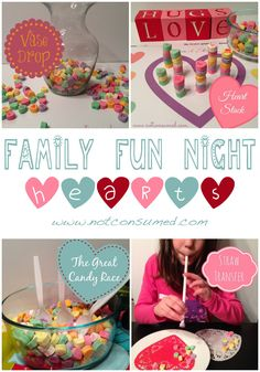 family fun night valentines day games using conversation hearts - Valentine Minute To Win It Games