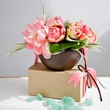 Pink peonies and variegated grasses by Trifecta Design