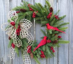 Christmas Wintertime Wreath - Realistic Natual Winter Wreath with for All Winter Long- Cardinal Wreath, Red Bird Wreath, Red Birds and Pine Outdoor Christmas Decorations, Christmas Crafts, Holiday Decor, Primitive Christmas, Christmas Stuff, Christmas Holiday, Christmas Door Hangings, Cemetery Decorations, Holiday Wreaths