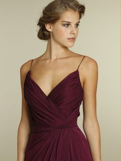 Merlot Chiffon A-line V-neck Long Bridesmaid Dress