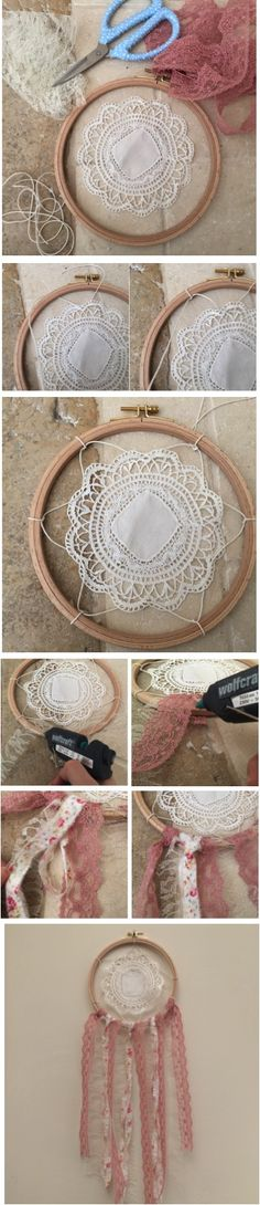 °° Attrape-rêves °°                                                                                                                                                                                 Plus Doily Dream Catchers, Dream Catcher Mobile, Lace Doilies, Crochet Doilies, Dreamcatchers, Crochet Decoration, Boho Diy, Craft Tutorials, Diy And Crafts
