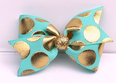 Turquoise and gold hair bow, dog hair bows, bow, Small hair bow, toddler clip by CreateAlley on Etsy