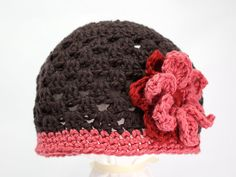 Organic Crocheted Hat - Brown and Peach/Pink - Adult