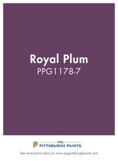 ROYAL PLUM from PPG Pittsburgh Paints. Purple is a majestic color – coming from royalty. It can be inspirational and create a pretty environment that nurtures a sense of balance and purpose. Purple Paint Colors, White Trim, Backyard Landscaping, Pittsburgh, Plum, Purpose, Royalty, Environment, Barn