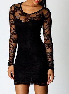 Black Floral Lace Short Length Bodycon Dress
