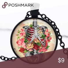  Floral Skeleton Dome Necklace  handmade item - black metal cabochon with a shiny image finished with a glass dome setting - comes on a black chain // tags: gothic goth body ribs rib cage anatomy anatomical doctor nurse medical spooky spook creepy punk rock creep rad wicked witchy neat witch flower flowers roses rose colors color bundle necklaces jewelry pretty beauty beautiful horror badass nwot bnwot new bubble unique awesome cool girly pink bones bone picture clear alternative oddities…