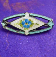 Antique Brooch Guilloche Enamel Flower by NeatstuffAntiques