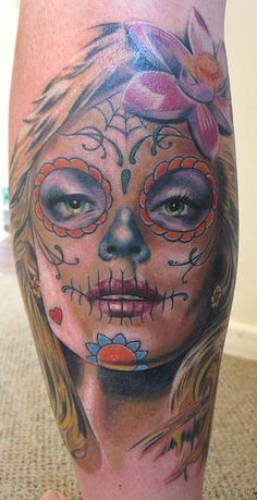 Tatouage visage, femme, catrina, calavera, santa, muerte