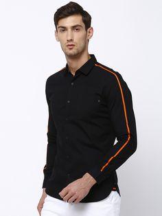 Tape detail shirt - Locomotive Cargo Shirts, Club Shirts, Formal Shirts, Casual Shirts For Men, Men Casual, Moda Peru, Polo Design, Mens Designer Shirts, Men Closet
