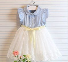 Copy of Denim in Lace Dress for girl, toddler dress, lace girl dress, birthday dress, Easter dress, denim blue dress, cowgirl dress