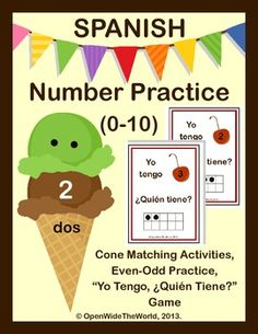 "Practice Counting and Cardinality skills in Spanish. Perfect for Dual Language Immersion Programs. Includes activities and a game for learning numbers 0-10. Use ice cream scoops and cones to practice matching numerals to written numbers, and numbers to 10-frames and scattered configurations. Make even/odd cones, and sort cherries onto even/odd sundaes. Also includes ""Yo Tengo... ¿Quién Tiene?"" game. ($)"