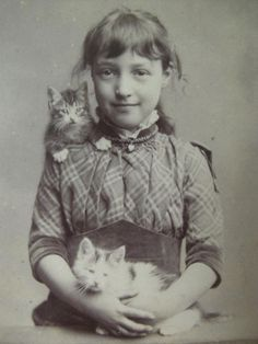 .A cute little girl and her kittens.