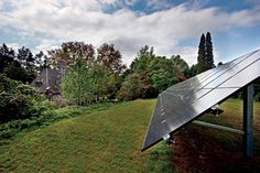 The system's solar technology is located on an otherwise unusable hill in the back yard.