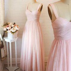 Simply elegant a-line pink long prom dress, grey long prom dress