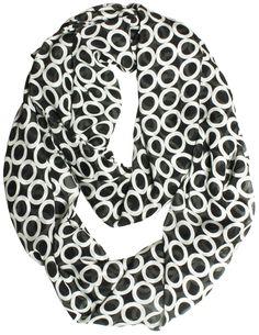 VODO Women's 100% Italian Silk Chiffon Infinity Scarf Large Black