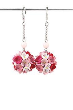 Teardrop earrings • Drop earrings • Floral Earrings • Dangle earrings • Pink earrings • Clay applique • Christmas gift idea • Christmas