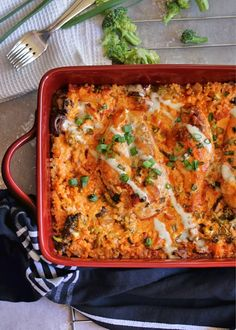 A creamy buffalo sauce smothers juicy chicken breasts and tons of roasted veggies in this paleo and compliant one dish meal. Chicken And Vegetable Casserole, Chicken And Vegetables, Veggies, Breakfast Bake, Breakfast Dishes, Whole 30 Recipes, New Recipes, Paleo Recipes, Buffalo Sauce Ingredients