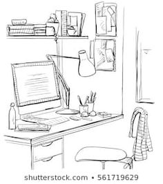 Hand drawn sketch of modern workspace with work table. Hand drawn sketch of modern workspace with work table. Interior Architecture Drawing, Architecture Concept Drawings, Drawing Interior, Interior Design Sketches, Classical Architecture, Table Sketch, Perspective Art, Presentation Layout, House Drawing