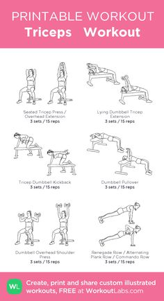 Triceps Workout:my visual workout created at WorkoutLabs.com • Click through to customize and download as a FREE PDF! #customworkout Triceps Workout, Toning Workouts, At Home Workouts, Exercises, Printable Workouts, I Work Out, Fitness Diet, Planer, Fitness Inspiration
