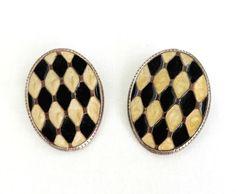 Harlequin Pierced Earrings, Vintage Black & Cream Oval Enamel Pierced Studs