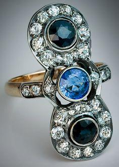 3 Stone Sapphire Diamond Antique Ring - 1890                                                                                                                                                                                 More