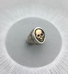 Memento Mori Mixed Metal Skull Biker Ring