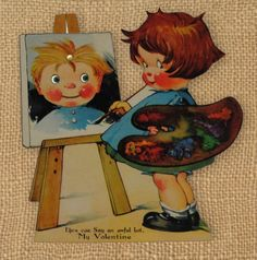 Little Artist Vintage Mechanical Valentines Day free printable from ALTERED ARTIFACTS