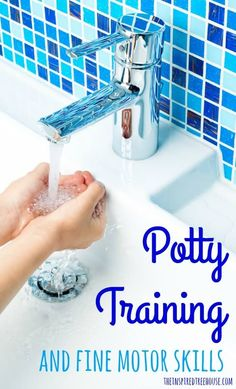 Fine motor skills are required all over the place in the bathroom during toileting.  We break down these skills and offer suggestions to help your child master potty training!  #functionalskillsforkids #pottytraining