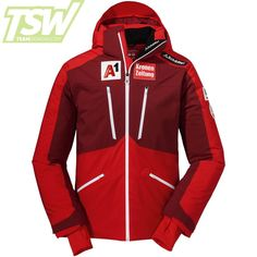 Schöffel Mens Austrian Team Lachaux M RT Jacket - High Risk Red Team Jackets, Ski Racing, Ski Wear, Ski Goggles, High Risk, Winter Sports, Team Logo, Motorcycle Jacket, Skiing