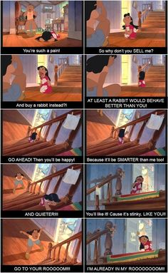 Lilo and Stitch I love this scene, especially when they stop fighting and work it out