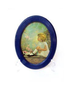 "Vintage Framed Print of Toddler Girl Eyeing Yellow Bird, 8.5"" x 6.25"" Shabby Chic -- by ThirdFloorRetro"