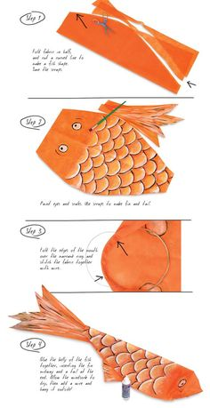 In Japan, Children's Day is heralded by the appearance of flying fish known as Koinobori. Make a carp-shaped windsock to fly in the breeze outside your home! New Year's Crafts, Diy Crafts For Kids, Paper Crafts, Carpe Coi, Arte Elemental, Kites Craft, Art Projects, Sewing Projects, Paper Fish