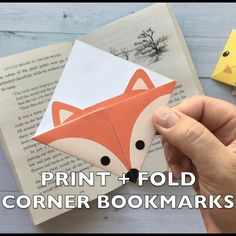 Print out these cute origami bookmarks that your kids can fold. In seven adorable woodland animal designs. How to make corner bookmarks. fashion accessories DIY woodland animals origami bookmarks {print + fold} - It's Always Autumn Kids Crafts, Cute Crafts, Diy And Crafts, Craft Projects, Projects To Try, Paper Crafts, Diy Crafts Videos, Diy Videos, Creative Crafts
