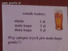 Do każdego piwa masz cennik