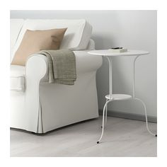 Side table instead of bedside drawers LINDVED White £15 Diameter:50 cm Height:68 cm