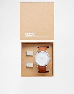 ASOS – Armbanduhr und Manschettenknöpfe im Geschenkset