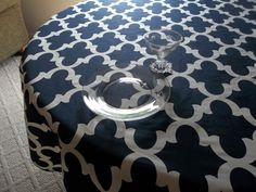 Navy and White Flyn design table cloth by LuxuryLinenLoft on Etsy #navy blue and white tablecloth