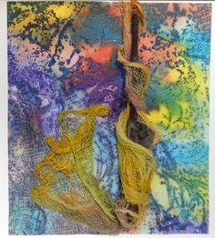 Hélène Lemyre - Interférence jaune (2014) - Gravure, encre, tissus, bois 10,5 X 9,5 pouces - Prix : 200$