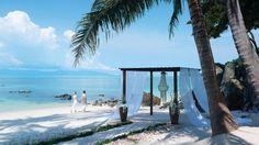 Palm trees, white sand & blue ocean are the stars of a beach wedding at Four Seasons Resort Koh Samui. @FSThailand #FSKohSamui #IgniteTheSpark