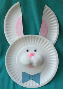 Easter craft ideas - bunny face made out of plates.