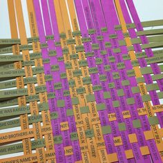 """""""Working on a paper weaving for Research + Theory class. Purple strips are facts about my maternal grandma's life, green are for my paternal grandma's…"""""""