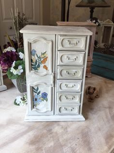 Musical Jewelry Armoire // Upcycled Jewelry Box // Vintage Shabby Chic Jewelry Box by ByeByBirdieDesigns on Etsy https://www.etsy.com/listing/449870180/musical-jewelry-armoire-upcycled-jewelry
