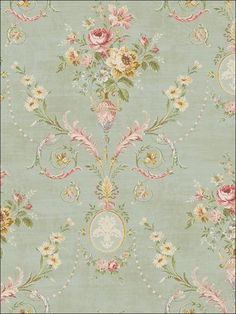 A beautiful arrangement of tapestry-styled damask, faux, floral and stripe wallpaper from Seabrook Designs Tapestry Wallpaper, Go Wallpaper, Fabric Wallpaper, Papel Vintage, Vintage Paper, Victorian Wallpaper, Shabby Chic, Traditional Wallpaper, Decoupage Paper