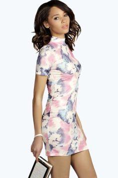 Melissa High Neck Printed Bodycon Dress at boohoo.com