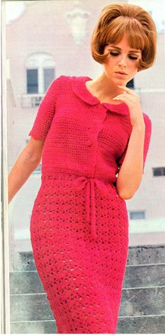 Crochet Dress with Peter Pan collar pattern -  (NHK98)