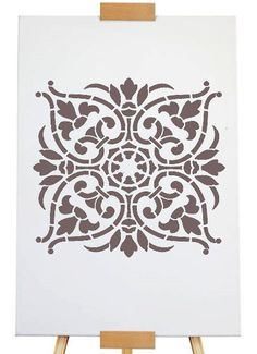 "Stencil damask 18,5 x 18,5cm - 7 3/8"" x 7 3/8"""