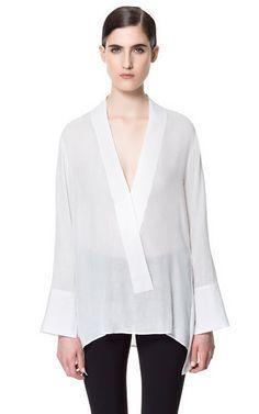 COMBINATION POPLIN STUDIO SHIRT - Shirts - Woman - ZARA United States $79.90