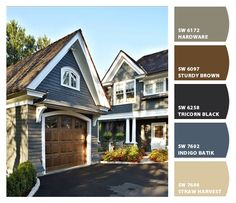 "Navy Exterior Paint Color: ""Benjamin Moore's Evening Dove DeGraw & DeHaan Architect. Paint the garage door House Paint Exterior, Exterior Paint Colors, Exterior House Colors, Paint Colors For Home, Exterior Design, Siding Colors, Outdoor Paint Colors, Garage Exterior, Exterior Color Schemes"