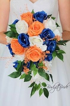 Cascading wedding brides bouquet in with royal blue peach apricot and white roses accented with pearls and seeded eucalyptus and greenery perfect for small intimate wedding Peach Wedding Theme, Wedding Cake Fresh Flowers, Spring Wedding Flowers, Wedding Bride, Cobalt Wedding, Prom Flowers, Wedding Dresses, Peach Bouquet, Bridal Bouquet Blue